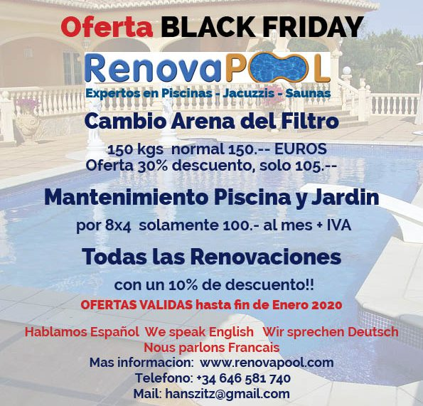 Special offers for pool maintenance and pool renovations on the Costa Blanca